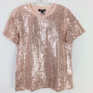 NWT Dkny Sparkle Champagne Toast Blouse Top